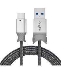 Ringke Smart Fish USB-C Kabel Gevlochten 1.2 Meter Grijs
