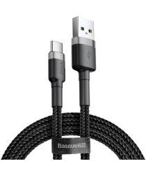 Baseus Gewoven USB-C Fast Charge Kabel 1 Meter 3A Zwart Grijs