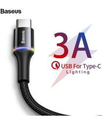 Baseus Gevlochten USB-C Kabel 2 Meter met LED Indicator Lampje Zwart