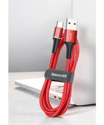 Baseus Gevlochten USB-C Kabel 2 Meter met LED Indicator Lampje Rood
