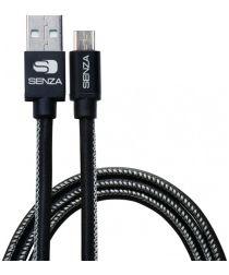 Senza Premium Leren Micro-USB Kabel 1.5 Meter Zwart