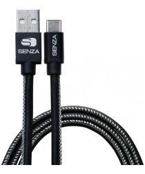 Senza Premium Leren USB-C Kabel 1.5 Meter Zwart