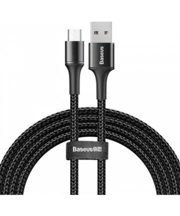 Baseus Halo Series Quick Charge Micro-USB Lichtgevende Kabel 2m Zwart Kabels