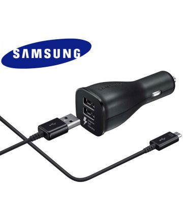 Samsung Fast Charging Dual Car Charger Micro-USB Autolader Zwart