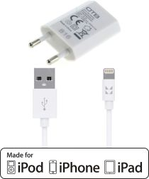 IONIKK Apple Lightning kabel (1,3M) met OTB oplader voor iPhone