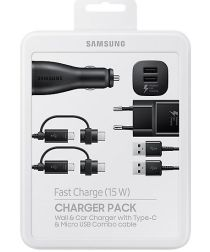 Samsung Power Pack EP-U3100 Lader Set met 2 Opladers en Kabel Zwart