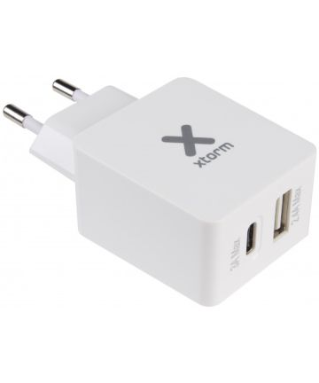 Xtorm Fast Charge Oplader USB en USB-C 3A Wit Opladers