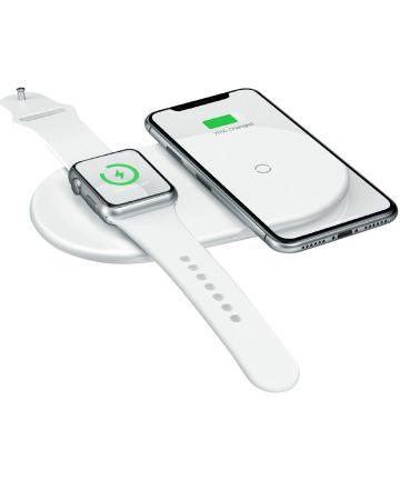 Baseus 2 in 1 Draadloze Oplader voor iPhone en Apple Watch Wit