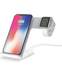 2 in 1 Draadloze Oplader 10W voor Smartphone en Apple Watch Wit