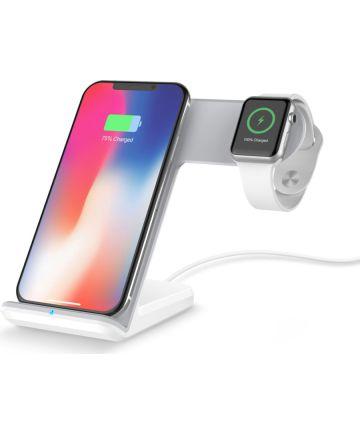 2 in 1 Draadloze Oplader voor Smartphone en Apple Watch Wit