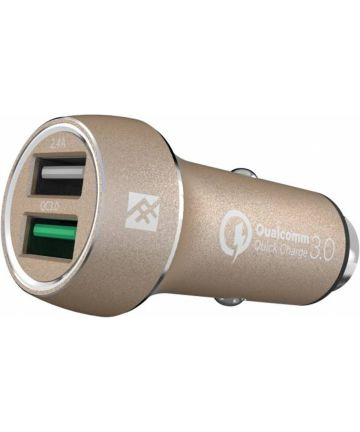 iFrogz Dual-USB Quick Charge 3.0 Autolader 2.4A Goud