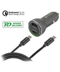 4smarts Fast Charging Autolader met USB C Kabel (1M) Zwart