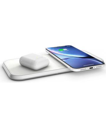 ZENS Aluminium Series Dual Smartphone QI Draadloze Oplader Wit
