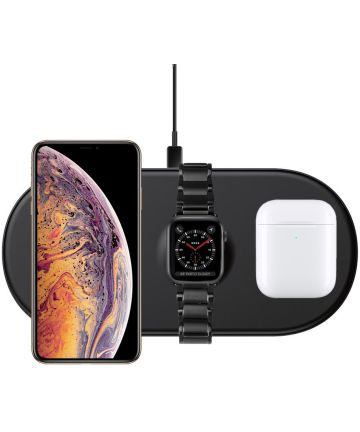 Baseus 3 in 1 Draadloze Oplader [iPhone + Apple Watch + AirPods] Zwart