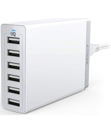 Anker PowerPort 6 Poorts USB 60W Thuislader Wit