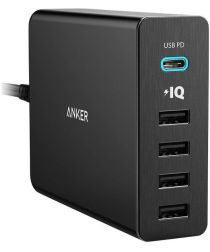 Anker PowerPort+ 5 Poorts USB Power Delivery 60W Thuislader Zwart