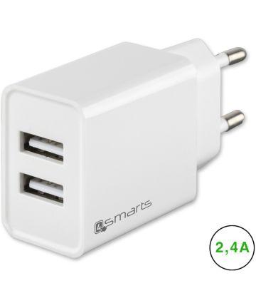 4smarts VoltPlug Dual Oplader 12W met Twee USB Poorten Wit Opladers