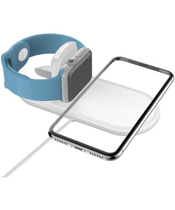 2 in 1 Wireless Fast Charger Pad Wit Opladers