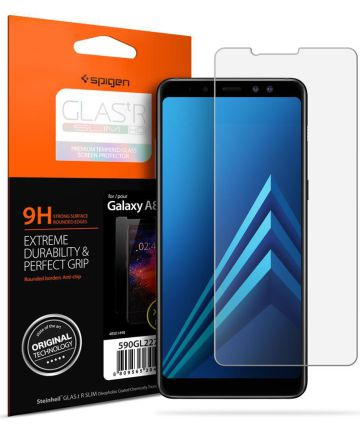 Spigen Samsung Galaxy A8 (2018) Curved Tempered Glass Protector Zwart