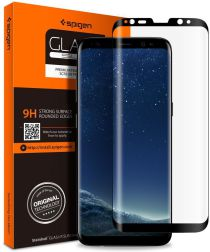 Spigen Samsung Galaxy S9 Plus Curved Tempered Glass Protector Zwart