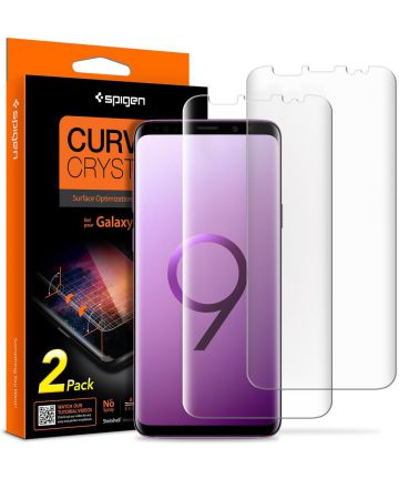 Spigen Curved Crystal Samsung Galaxy S9 Plus Screen Protector (2 Pack)