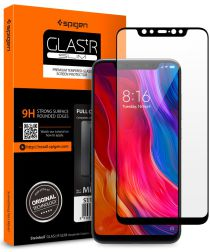 Spigen Full Cover Tempered Glass Screen Protector Xiaomi Mi 8 Zwart