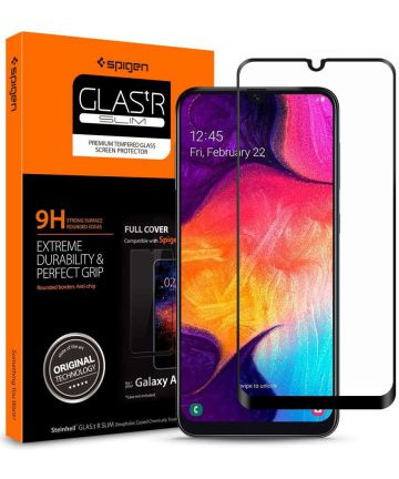 Spigen GLAS.tR Slim Samsung Galaxy A50 Full Cover Tempered Glass Zwart