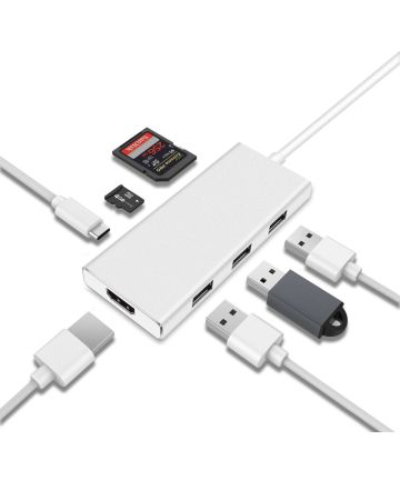 Universele 7-in-1 USB-C Adapter Wit Kabels