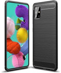 Samsung Galaxy A51 Geborsteld TPU Hoesje Zwart