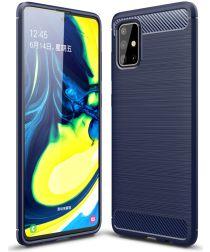 Samsung Galaxy A71 Geborsteld TPU Hoesje Blauw