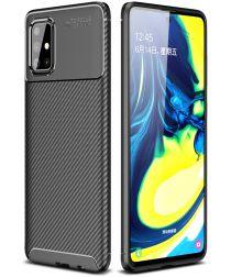 Samsung Galaxy A71 Siliconen Carbon Hoesje Zwart