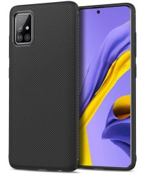 Samsung Galaxy A51 Twill Slim Texture Back Cover Zwart