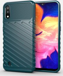 Samsung Galaxy A10 / M10 Twill Thunder Texture Back Cover Groen