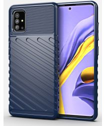 Samsung Galaxy A51 Twill Thunder Texture Back Cover Blauw