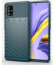 Samsung Galaxy A51 Twill Thunder Texture Back Cover Green