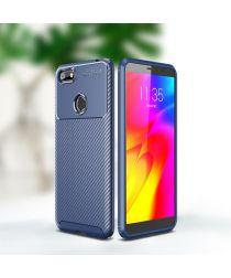 Motorola Moto E6 Play Siliconen Carbon Hoesje Blauw