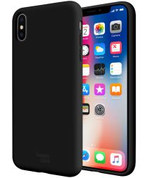 HappyCase Apple iPhone X(S) Siliconen Back Cover Hoesje Zwart