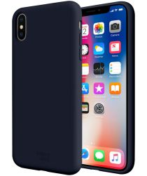HappyCase Apple iPhone X(S) Siliconen Back Cover Hoesje Donker Blauw