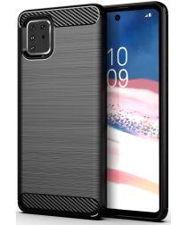 Samsung Galaxy Note 10 Lite Geborsteld TPU Hoesje Zwart