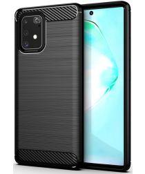 Samsung Galaxy S10 Lite Geborsteld TPU Hoesje Zwart