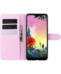 LG K50S Portemonnee Hoesje met Standaard Roze