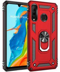 Huawei P30 Lite Hybride Hoesje met Kickstand Rood