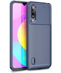 Xiaomi Mi 9 Lite Siliconen Carbon Hoesje Blauw