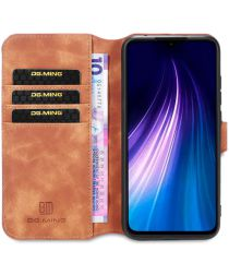 DG Ming Retro Portemonnee Xiaomi Redmi Note 8 Hoesje Bruin