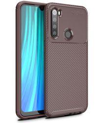 Xiaomi Redmi Note 8 Siliconen Carbon Hoesje Bruin