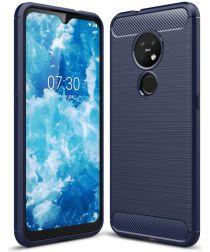 Nokia 7.2 Geborsteld TPU Hoesje Blauw