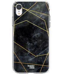HappyCase Apple iPhone XR Flexibel TPU Hoesje Zwart Marmer Print