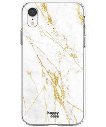 HappyCase Apple iPhone XR Flexibel TPU Hoesje Wit Marmer Print