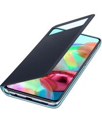 Origineel Samsung Galaxy A71 Hoesje S-View Wallet Cover Zwart