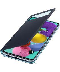 Origineel Samsung Galaxy A51 Hoesje S-View Wallet Cover Zwart